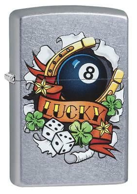 Zippo Windproof Chrome Lighter, Luck Tattoo, 4 Leaf Clover, 29604, New In Box