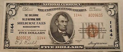 1929 $5 National Currency Shelburne Falls Ch 1144 Massachusetts CU Unc Bank Note