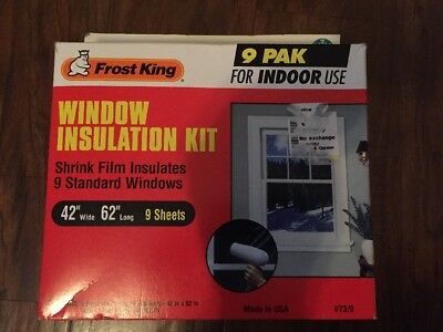 Frost King V73/9H Indoor Shrink Window Kit 42-Inch by 62-Inch, Clear 9-Pack