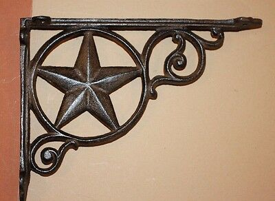 "Texas Steakhouse Decor, Rustic Western Lone Star Shelf Brackets, Brown, 9"",B-19"