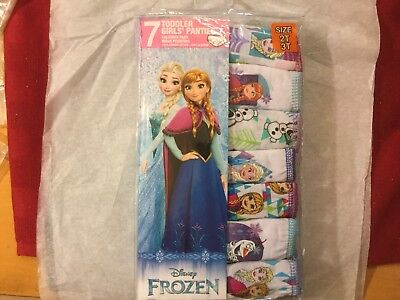 Disney Frozen toddler girls panties 2T/3T 7 pairs Ana Elsa