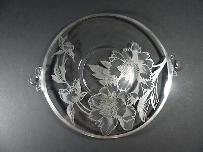 Vintage Silver Overlay Glass Cake Plate with Handles Rockwell Peony 10½""