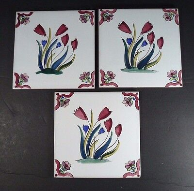 Lot of 3 Ceramic 6 x 6 Hand Painted Tiles Flowers made in Spain