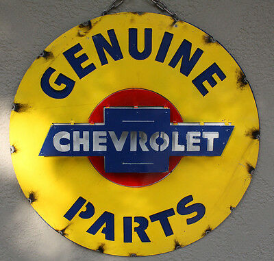 Metal CHEVY Bow Tie Sign Gas Oil Garage Man Cave Home Decor GENUINE PARTS TIN #2