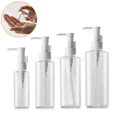 d26d3331143b FLAT 50ML 100ML 200ml Clear Empty Lotion Pump Bottle for Cleansing ...