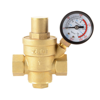 "Water Pressure Regulator 1/2"" 15mm Adjustable With Guage Brass Reducing Valve"
