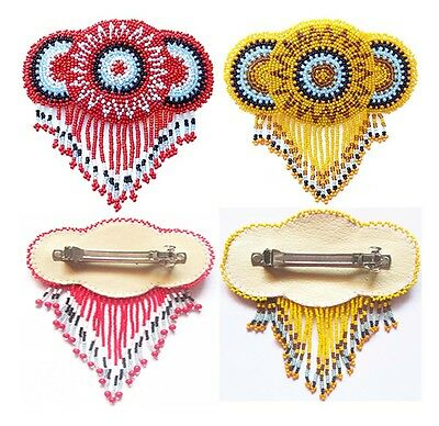 Handmade Seed Beaded Flower Bead work french clip Hair Barrette Wholesale Lot 2