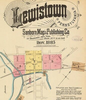 Lewistown, Pennsylvania~Sanborn Map©~sheets with 23 maps on CD in  full color