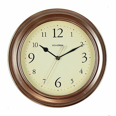 Hometime Vintage Bronze Deep Case Wall Clock Cream Dial Black Hands 25Cm Dia