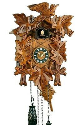 'Uhren-Park Eble' - Black Forest Cuckoo Clock - 5 Carved Leaves Battery Operated