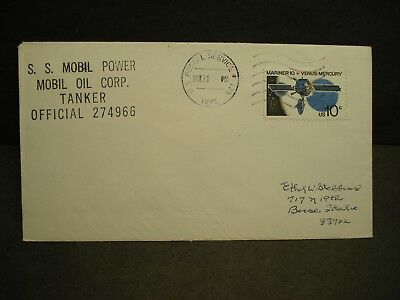 Tanker S/S MOBIL POWER, MOBIL OIL Corp Naval Cover 1975