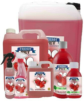 FRESH PET Kennel Dog / Cat Disinfectant STRAWBERRY MULTI-LISTING 250ml - 25L IBC