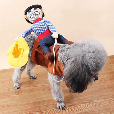 Riding Horse Dog Costume with Cowboy Creative Funny Pet Clothing Funny Clothes