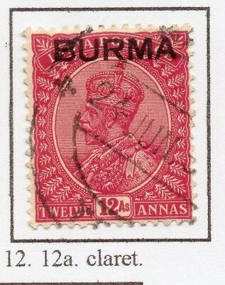 Burma 1937 GV Early Issue Fine Used 12a. Optd 228491