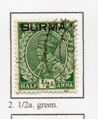 Burma 1937 GV Early Issue Fine Used 1/2a. Optd 228481