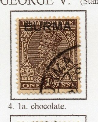 Burma 1937 GV Early Issue Fine Used 1a. Optd 228483