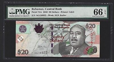 2010 Bahamas $20 Dollars, PMG 66 EPQ GEM UNC, P-74A, Soon to be Replaced in 2018