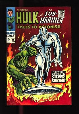 Tales to Astonish #93 9.2 NM- Wpgs Silver Surfer vs. The Hulk - Original Owner