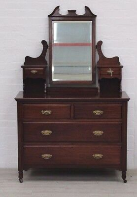 Antique Solid Mahogany Vanity Chest Of Drawers, Liners All In Oak - Quality