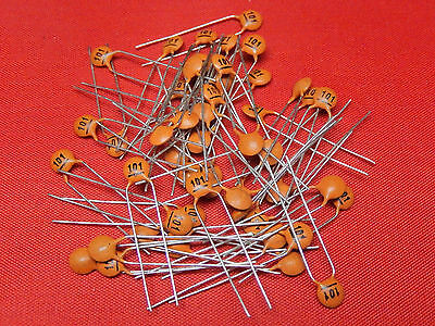 50x CERAMIC DISC CAPACITOR 100pF 100V Y5P p=5mm CTC