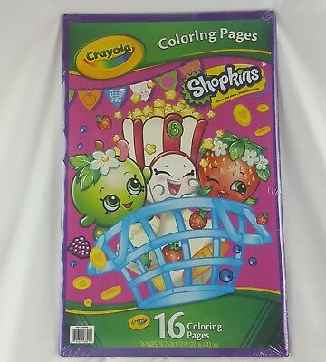 SHOPKINS CRAYOLA GIANT Coloring Pages Activity Book New Sealed ...
