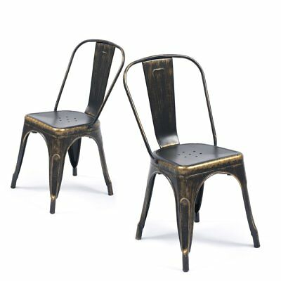 Antique Black Metal Dining Chair 4 Pack Steel High Back Kitchen Modern Seat New