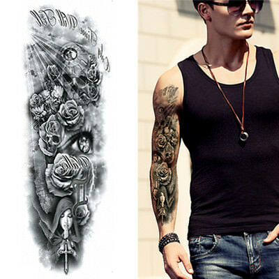 Tribal Angels Roses Skulls Black Full Arm Long Temporary Tattoo Sleeve  Tattooed