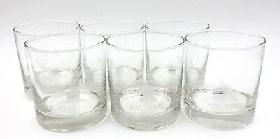 Set Of Six Etched Wild Turkey Bourbon Glasses With Heavy Glass Bottoms