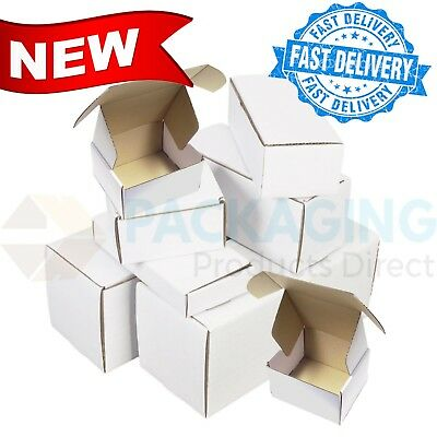 "White 6x6x2.5""  Diecut Post Mailing Cardboard Boxes Single Wall Packaging Carton"