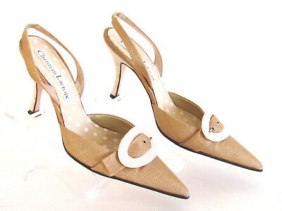 3c187c6542d Christian Lacroix Tan ivory Linen Buckle Detail Pointed Toe High Heels 8.5  Med