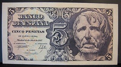 1947 Spain Bank of, 5 Pesetas Nice CU Note    ** FREE U.S SHIPPING**