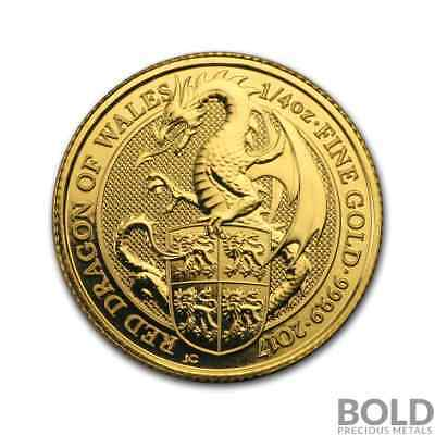 2017 Gold Great Britain Queen's Beasts (The Red Dragon) - 1/4 oz