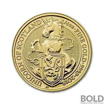 2018 Gold Great Britain Queen's Beasts (The Unicorn) - 1/4 oz