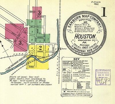 Houston, Pennsylvania~Sanborn Map© sheets made 1907, 1913, 1927 in full color