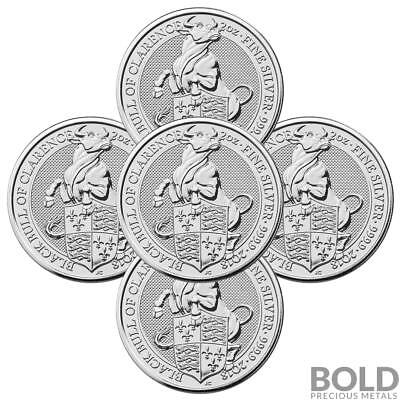 2018 Silver Great Britain Queen's Beasts (The Black Bull) - 2 oz (5 Coins)