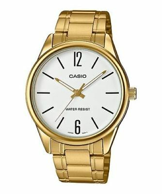 Casio MTP-v005G-7B Men's Stainless Steel Watch WHITE Dial Analog GOLD-tone NEW