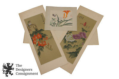 """Set of 3 Vtg Chinese Hand Painted Scenes Floral Bird Butterfly Chinoiserie 20"""""""