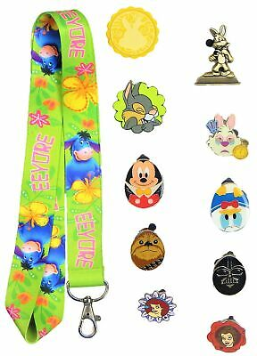 Easter Set with 1 Lanyard and 10 Assorted Disney Park Trading Pins ~ Brand NEW