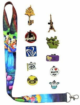 Disneyland's Birthday Lanyard Set w/ 10 Assorted Disney Park Trading Pins ~ NEW