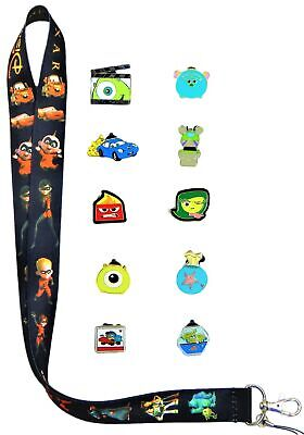 Pixar Themed Lanyard Set with 10 Assorted Disney Park Trading Pins ~ Brand NEW