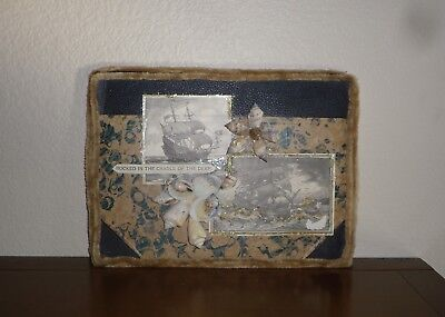 19Th C. Sailors Valentine Sea Shells Old Marbled Book Cover Maritime Ship Images