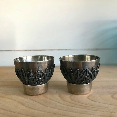 PR OF FILAGREE EGG CUPS SILVER TONED METAL,  MIDDLE EASTERN? Makers Mark