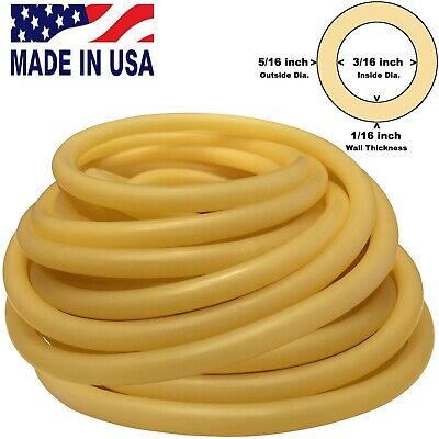 """10FT CONTINUOUS 5/16""""(8mm)OD 3/16""""(5mm)ID Latex Rubber Tubing AMBER Made in USA"""