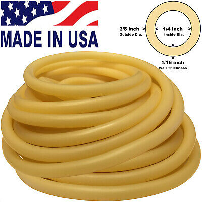 10FT CONTINUOUS 3/8in(10mm)OD 1/4in(6mm)ID Latex Rubber Tubing AMBER Made in USA