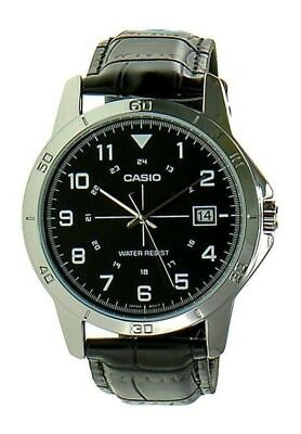 NEWEST Casio MTP-v008L-1B Men's Watch BLACK Leather Band BLACK Date Display Dial
