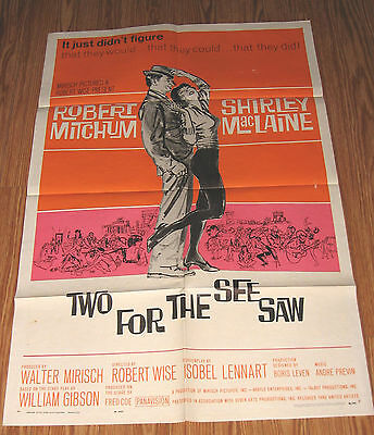 Two For The Seesaw Robert Mitchum Shirley Maclaine 27X41 Original Movie Poster