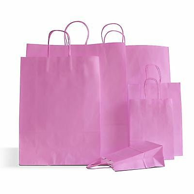 20 x Pink Paper Party Bags Twisted Handle 18x25x8cm Birthday Gift Wedding Favour
