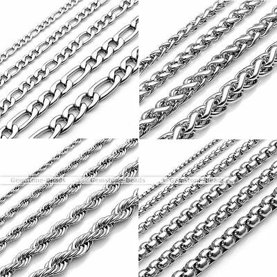 """20-25"""" Length Stainless Steel Figaro Wheat Rope Box Link Chain Necklace 2-7mm"""