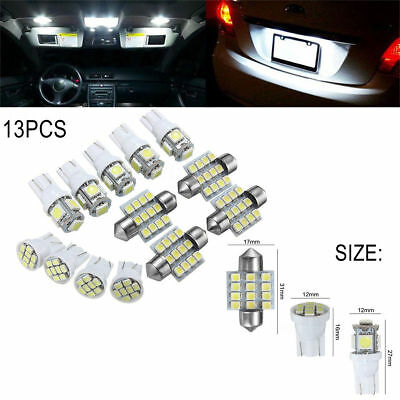 13Pcs/Set Car White LED Lights for Stock Interior & Dome & License Plate Lamps