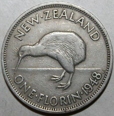 New Zealand One Florin Coin, 1948 - KM# 18 - King George VI - 1